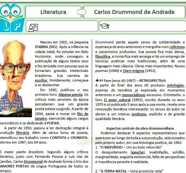Carlos Drummond de Andrade – Caça com cruzadinha