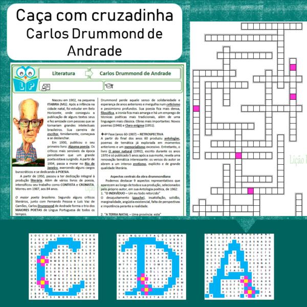Caça com cruzadinha Carlos Drummond de Andrade