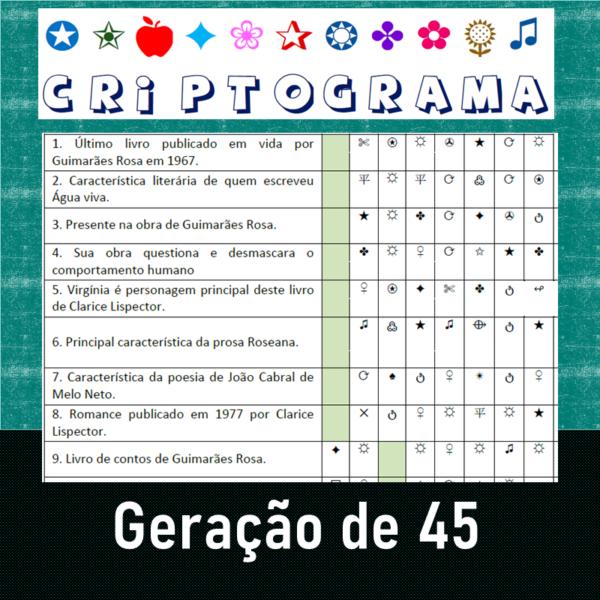 Criptograma da Geração de 45