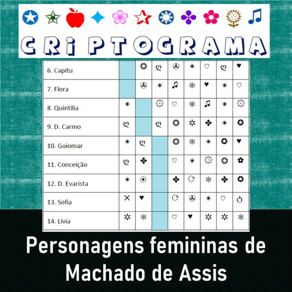 Criptograma – Personagens femininas de Machado de Assis