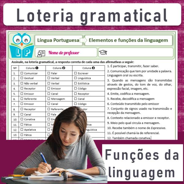 Elementos e funções da linguagem – Loteria gramatical
