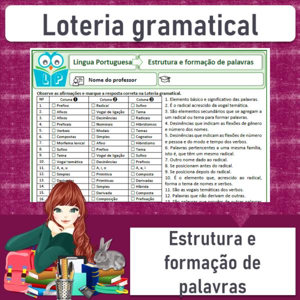 Loteria gramatical – Estrutura e formação de palavras 1