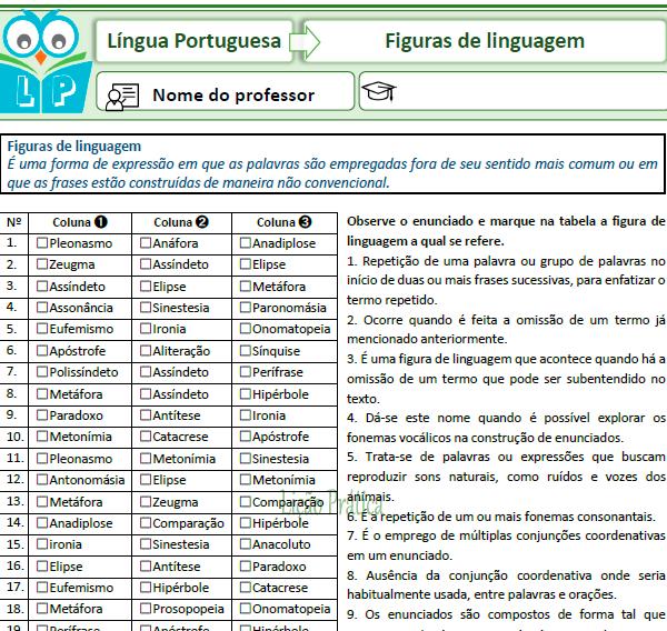 Loteria gramatical – Figuras de linguagem
