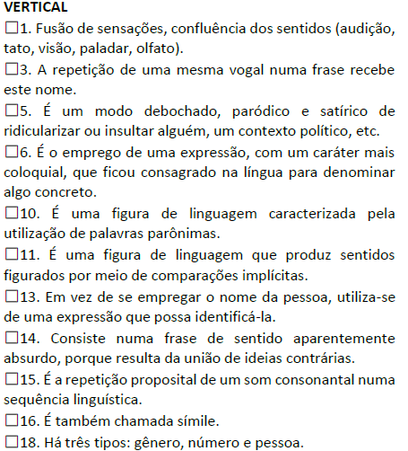 Cruzadinha – Figuras de linguagem 1 (Conceito X figura)