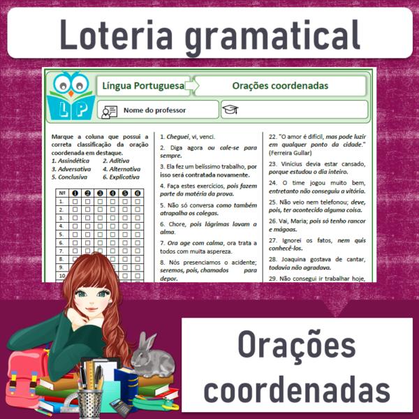 Loteria gramatical – Orações coordenadas 1