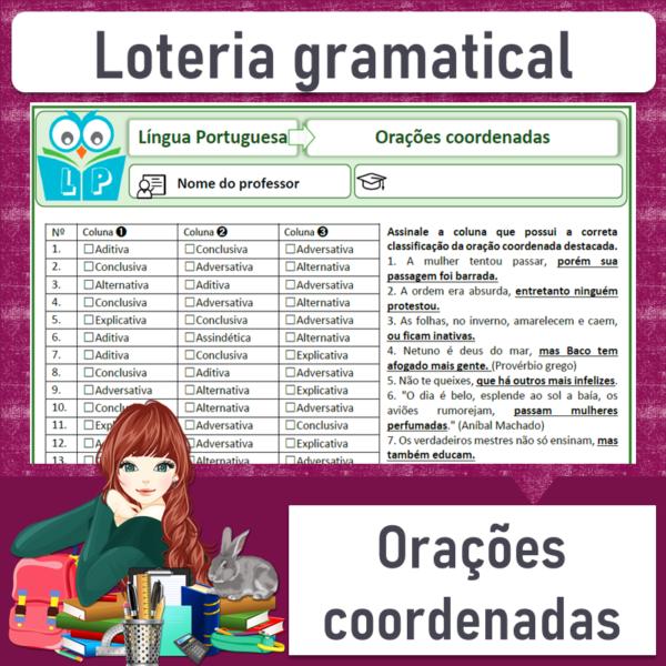 Loteria gramatical – Orações coordenadas 2