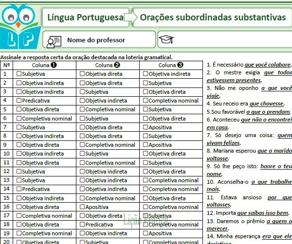 Loteria gramatical – Orações subordinadas substantivas 2