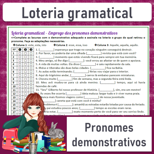 Loteria gramatical – Emprego dos pronomes demonstrativos