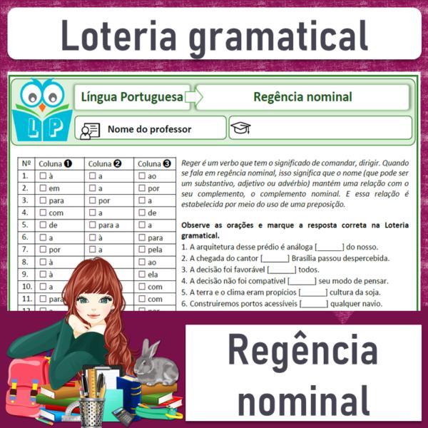 Loteria gramatical – Regência nominal