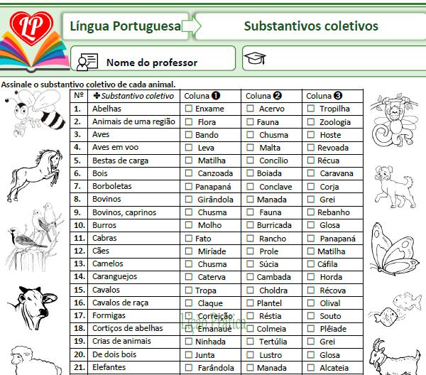 Loteria gramatical – Substantivos coletivos
