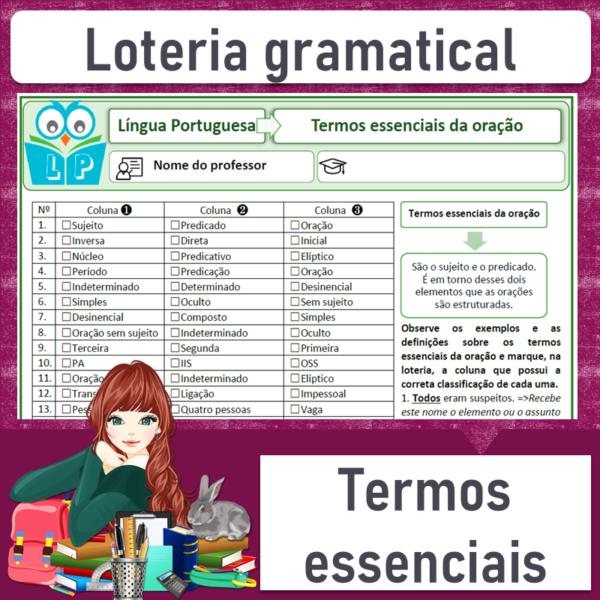 Loteria gramatical – Termos essenciais