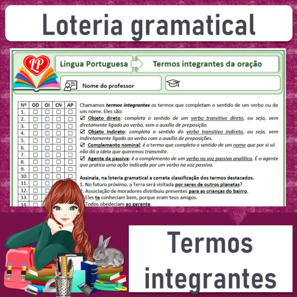 Loteria gramatical – Termos integrantes