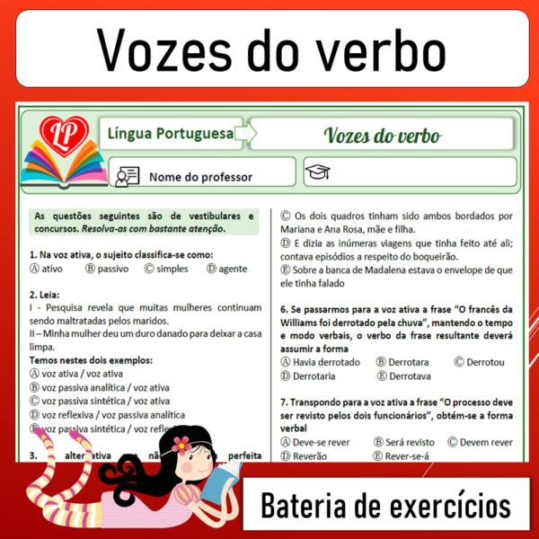 Vozes do verbo – Bateria de exercícios