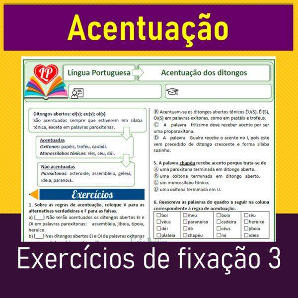 Acentuação – Exercícios de fixação 3 – Ditongos abertos