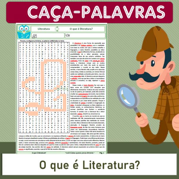 O que é literatura – Caça-palavras