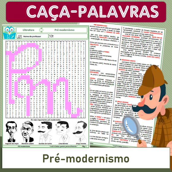 Pré-modernismo – Caça-palavras