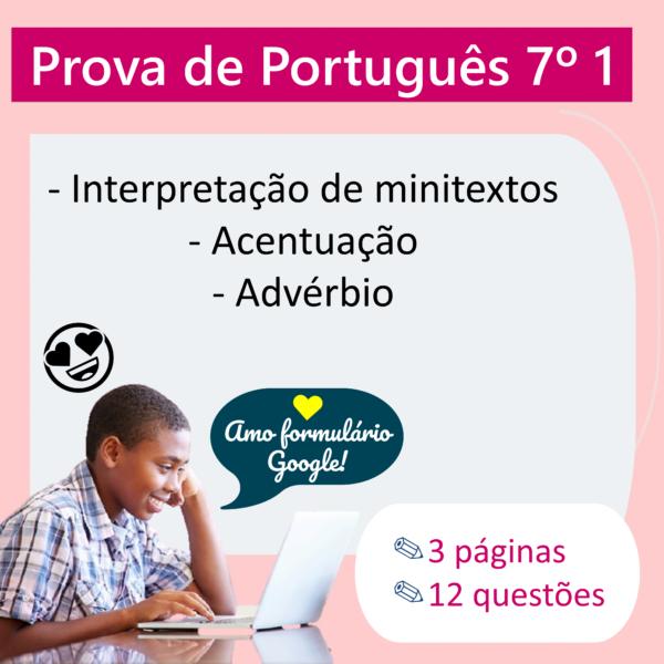 Prova de Português – 7º ano 1
