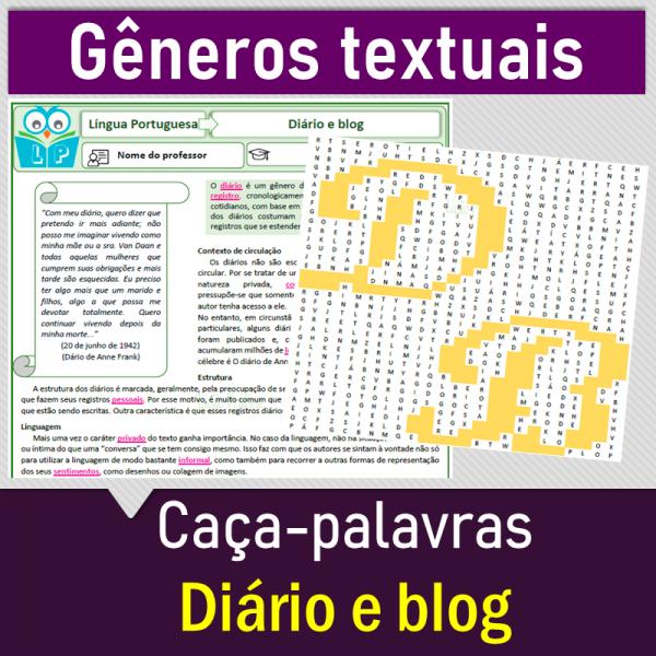 Diário e blog – caça-palavras