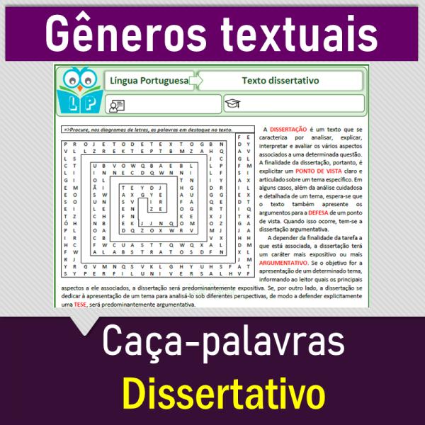 Texto dissertativo-argumentativo – Caça-palavras