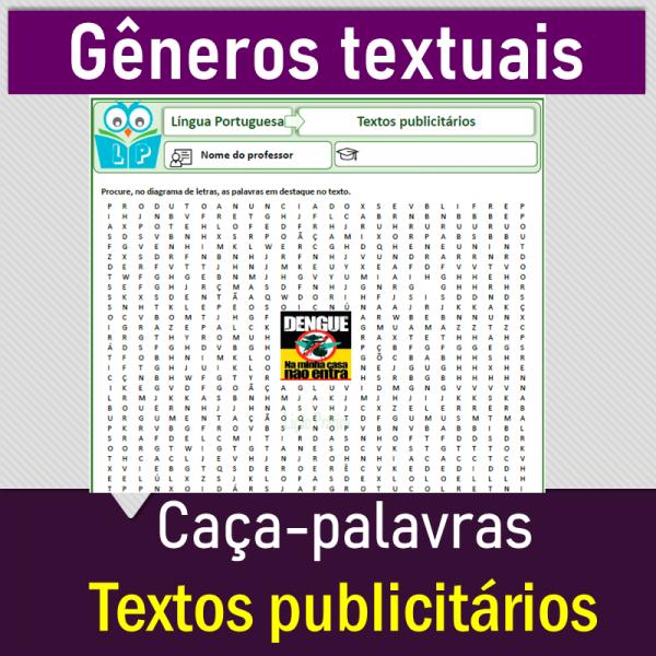 Textos publicitários – caça-palavras