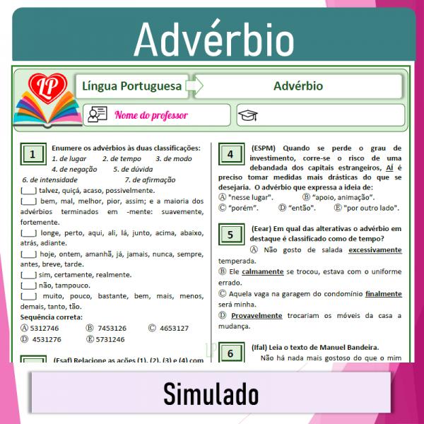 Advérbio  – Simulado 1