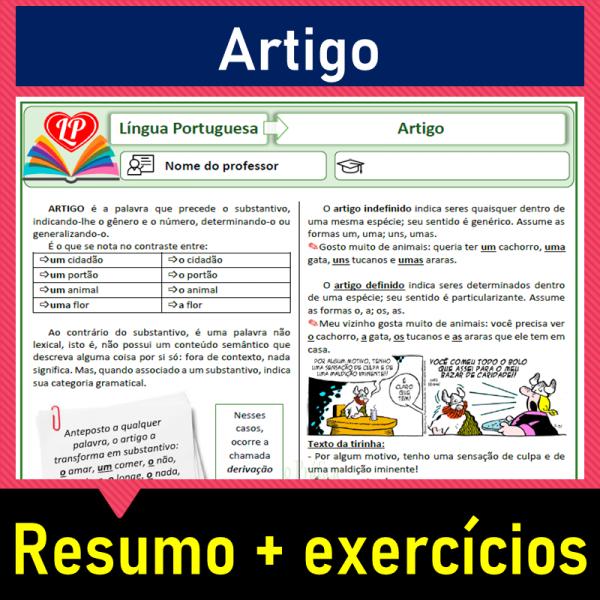 Artigo – resumo + exercícios