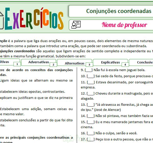 Conjunções coordenadas – Exercícios 1 – Enumerar de acordo