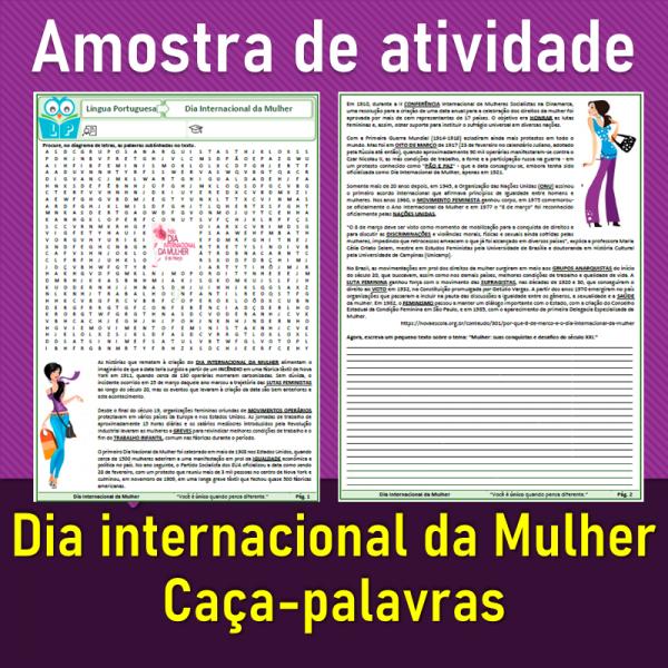 Dia internacional da Mulher – Caça-palavras