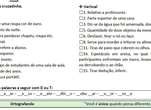 Atividades diversas 1 – Dou T e Sinônimos – Ortografando