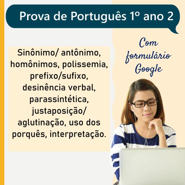Prova de português – 1º ano 2