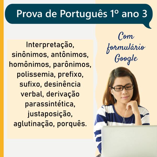 Prova de português – 1º ano 3