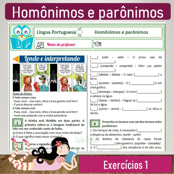 Homônimos e parônimos – Exercícios 1
