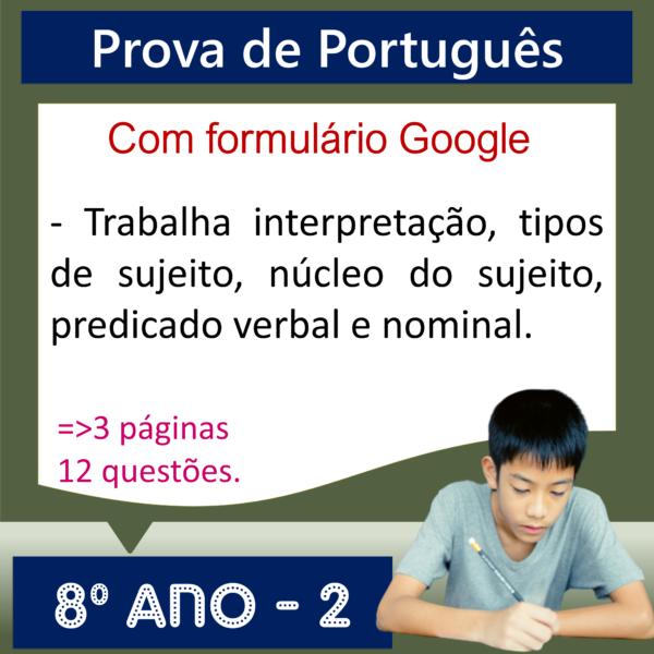 Prova de Português – 8º ano 2
