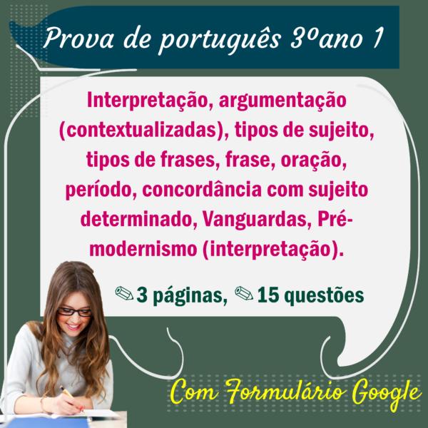 Prova de Português – 3º ano 1