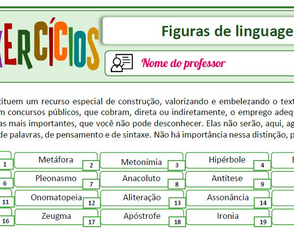 Figuras de linguagem – Atividades de fixação 3