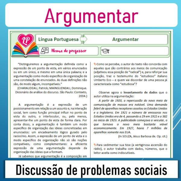 Argumentar – Discussão de problemas sociais