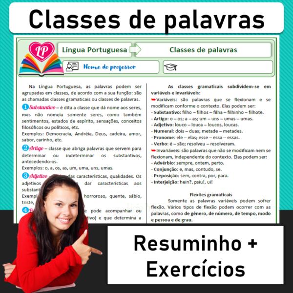Classes de palavras – Resuminho + Exercícios