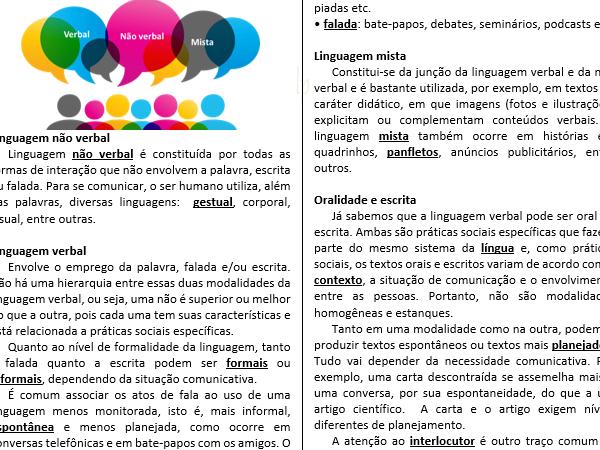 Linguagem verbal, não verbal, mista – Caça com cruzadinha