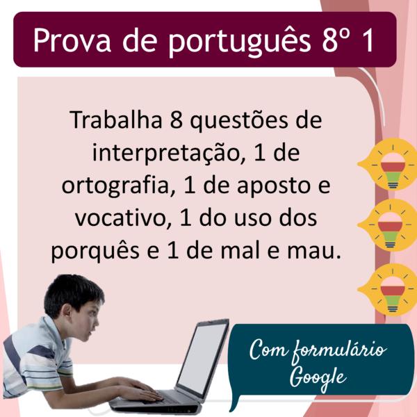 Prova de português – 8º ano 1