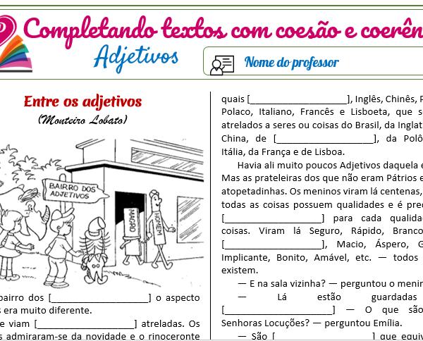 Adjetivos – Completando textos com coesão e coerência