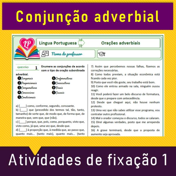 Conjunções adverbiais – Atividades de fixação 1 – Enumerar de acordo