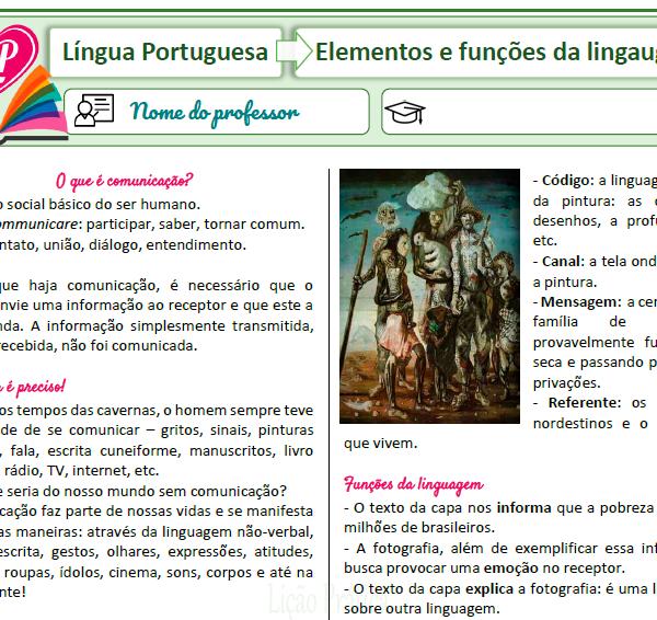 Elementos e funções da linguagem – Resumo