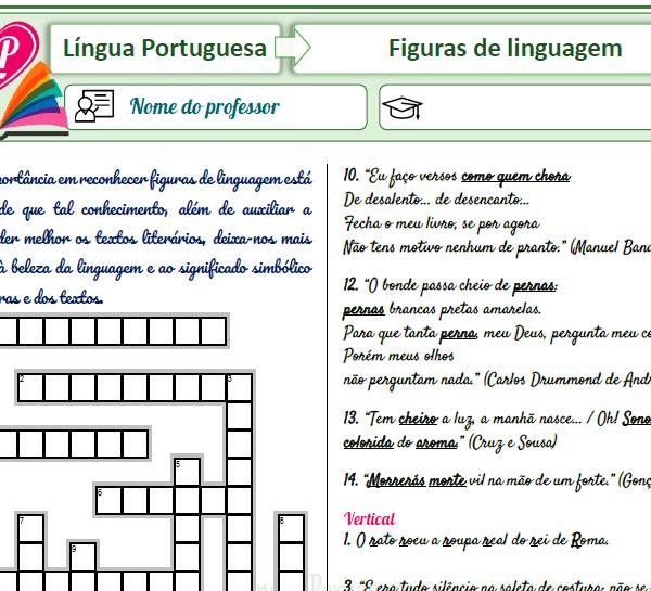 Figuras de linguagem – Cruzadinha 1 – Figura X exemplo
