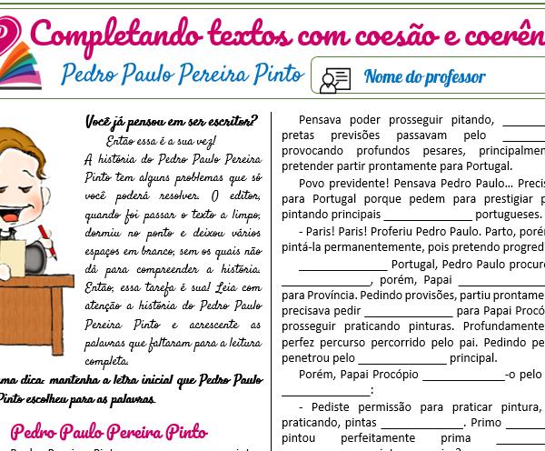 Pedro Paulo Pereira Pinto (texto) – Completando textos com coesão e coerência