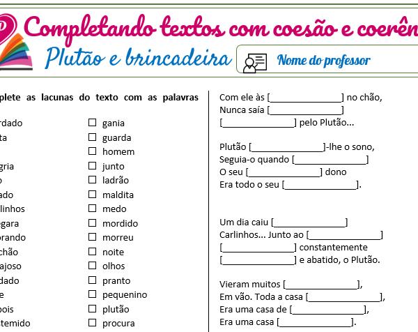 Plutão e Brincadeira (textos) – Completando textos com coesão e coerência