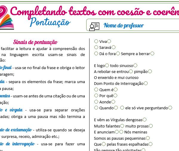 Pontuação 1 – Completando textos com coesão e coerência