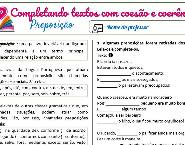 Preposição – Completando textos com coesão e coerência