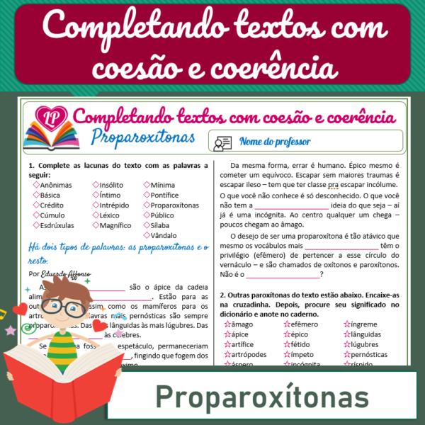 Proparoxítonas – Completando textos com coesão e coerência