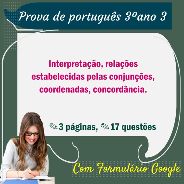 Prova de Português – 3º ano 3