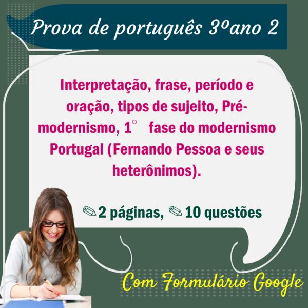 Prova de Português – 3º ano 2